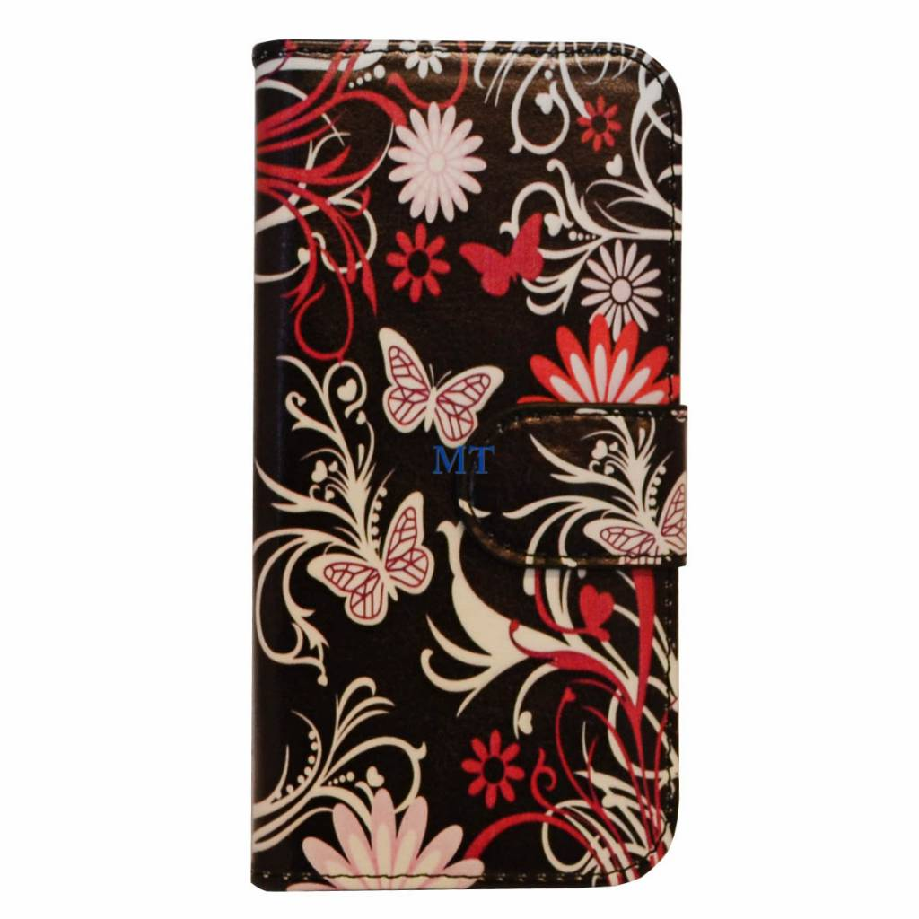 Galaxy Core 2 Butterfly Print Book Case