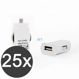 25x USB Car Charger 5V/1A