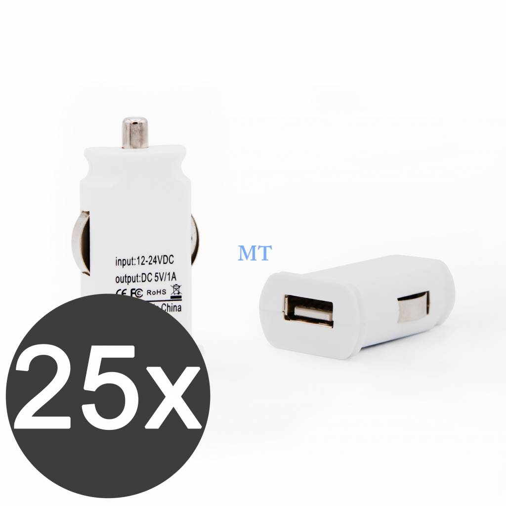 25x USB Car Charger 5V/1A