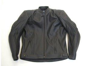 MJK Leathers Black Carbon Cota Leren Motorjack brown stitching