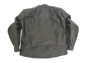 MJK Leathers Black Carbon Cota grey stitching Leren Motorjack