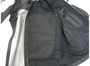 MJK Leathers Black Carbon Cota grey stitching Leren Motorjack