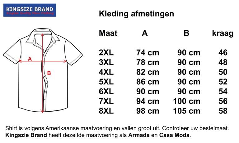 Kingsize Brand SS100 zwarte grote maten overhemd korte mouw