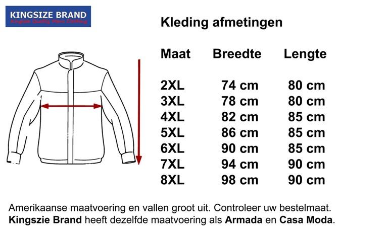 Kingsize Brand JT085 Grote maten Zwarte Winterjas