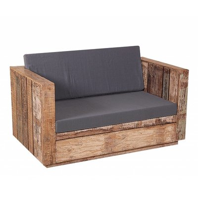 Landelijke houten 2-zits Tuinbank incl. kussens