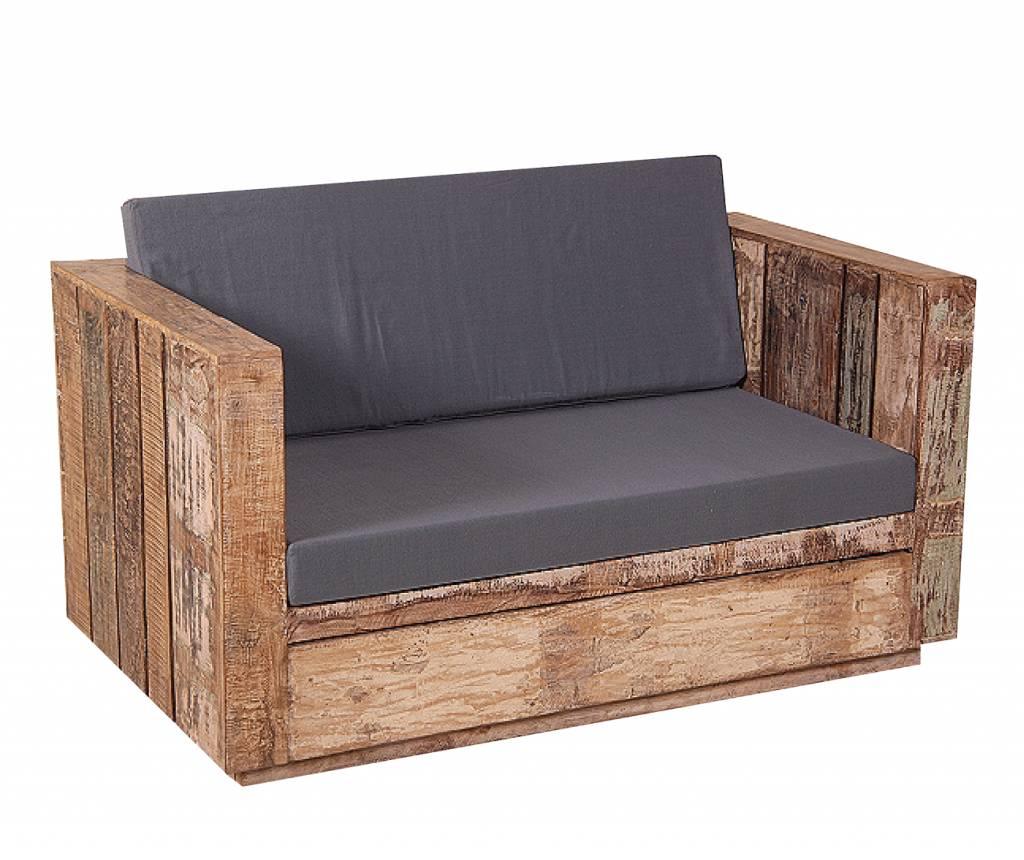 Landelijke Tuinbank 2 zits van gerecycled hout met 2 grijze kussens   Berlano nl Interieur