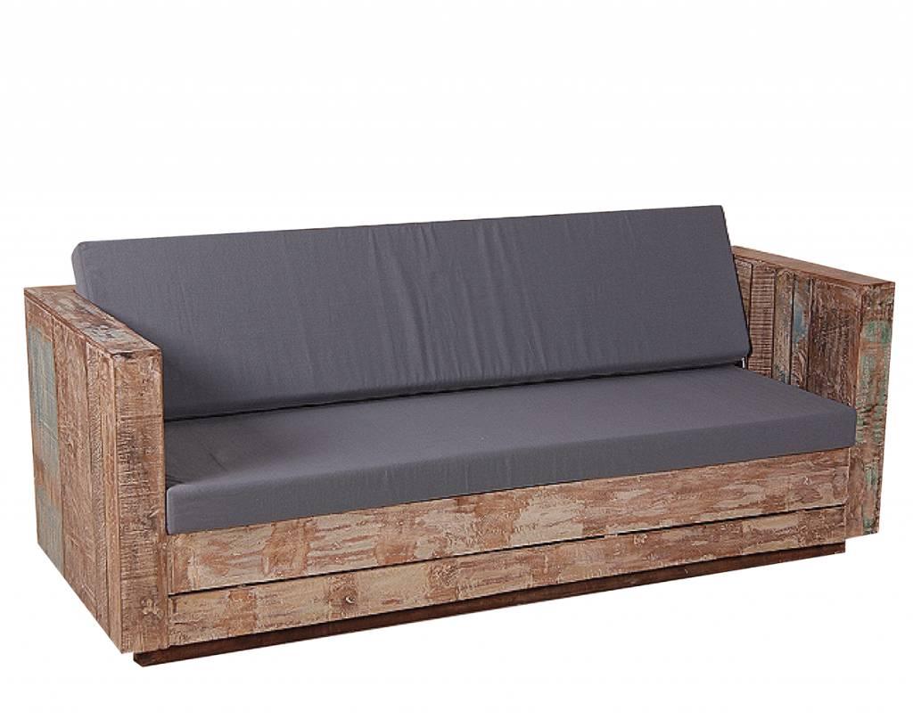 Landelijke Tuinbank 3 zits van gerecycled hout met 2 grijze kussens   Berlano nl Interieur