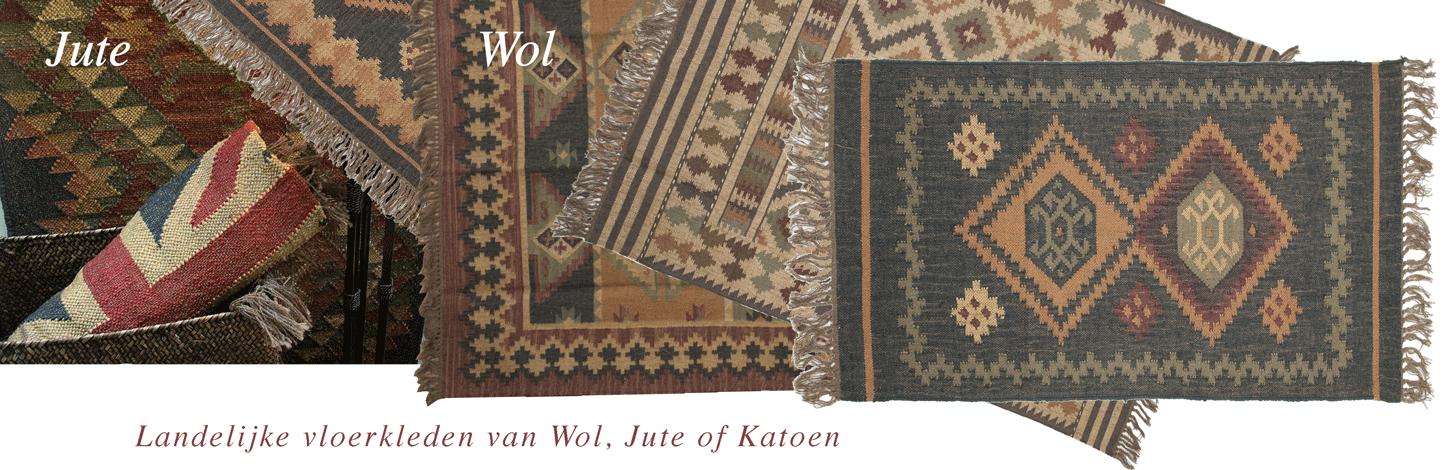 Landelijke Vloerkleden van wol, katoen en jute in mooie natuurtinten ...