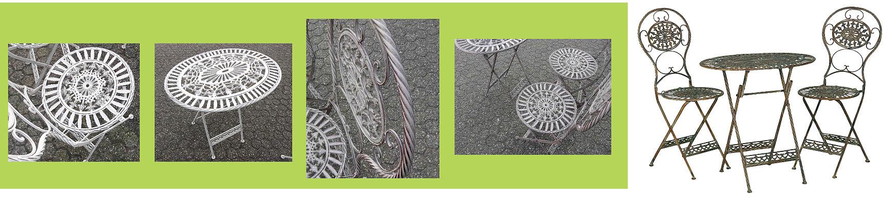 Metalen tuinmeubelen Brocante Bistroset; de Franse romantische bistrosetjes zijn verkrijgbaar in