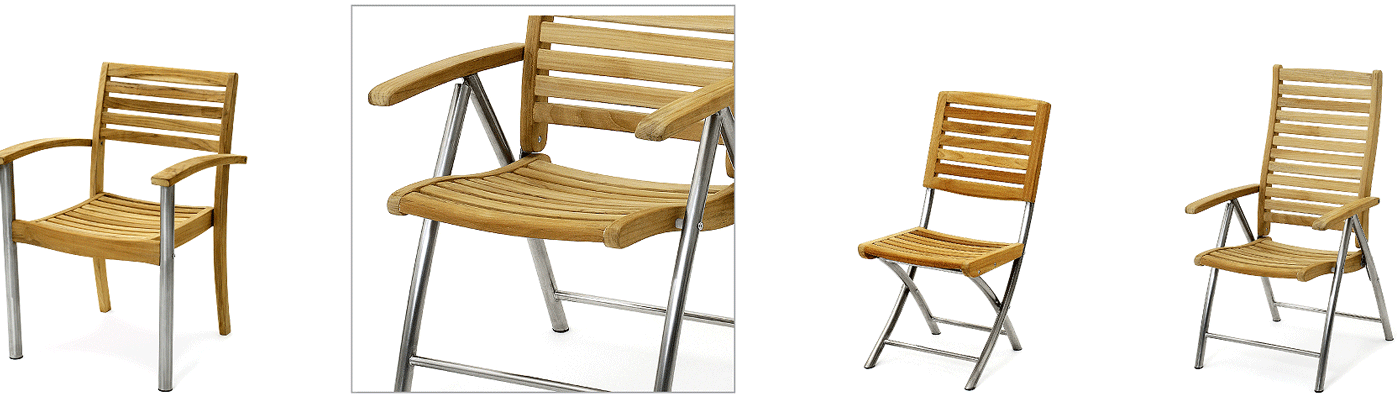 RVS met teak hardhout verstelbare Tuinstoel  Sterke Tuin ligstoel verstelbaar Roestvrijstaal met