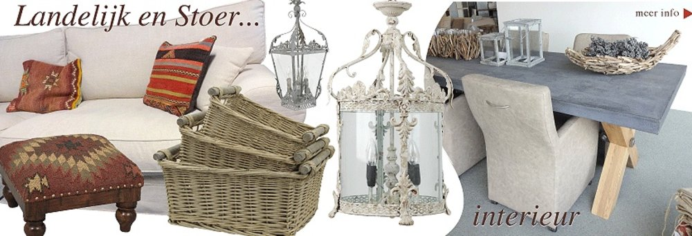 landelijk wooninterieur en stoere meubelen en landelijke lampen