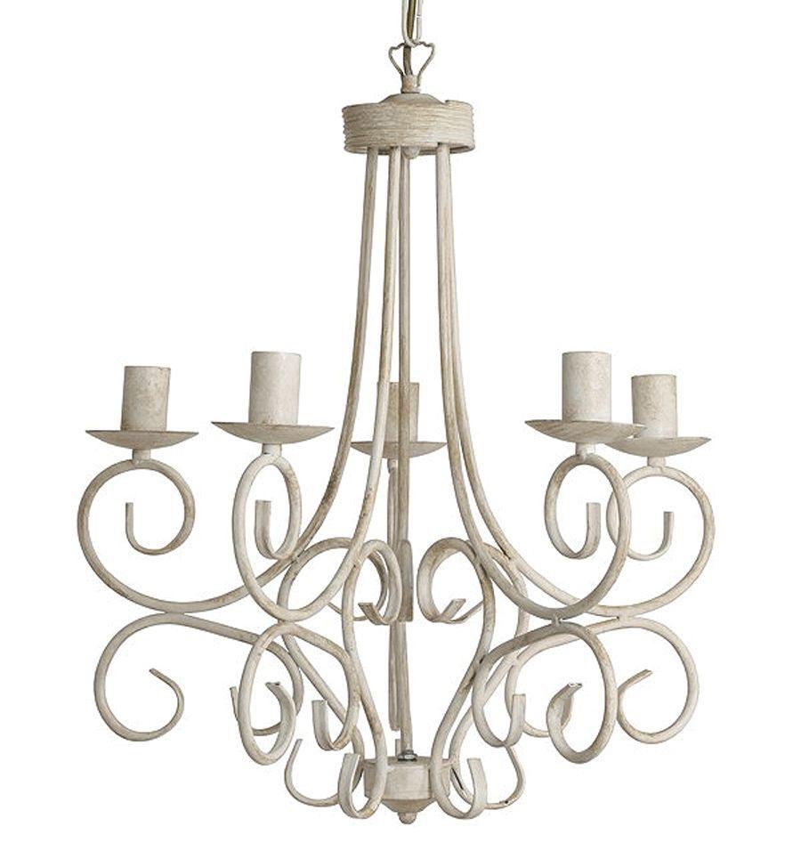 Landelijke witte hanglamp kroonluchter in een franse for Landelijke lampen