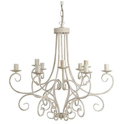Franse landelijke Hanglamp Antiek Wit 9L