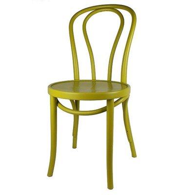 Houten keuken-stoel / Bistrostoel Geel-groen