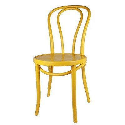 Houten keuken-stoel / Bistrostoel Geel