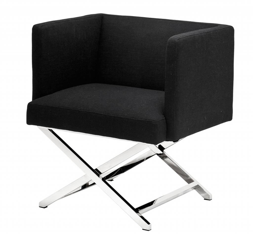Eichholtz vierkante zwarte moderne stoel dawson in zandkleur wit en zebra met chrome kruizpoten - Moderne stoel ...