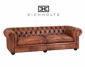 Eichholtz 2-zitsbank Club GymnasiumTabak bruin leder 240cm