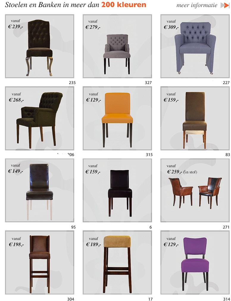 stoelen fauteuils banken fabriek 200 kleuren stof leer