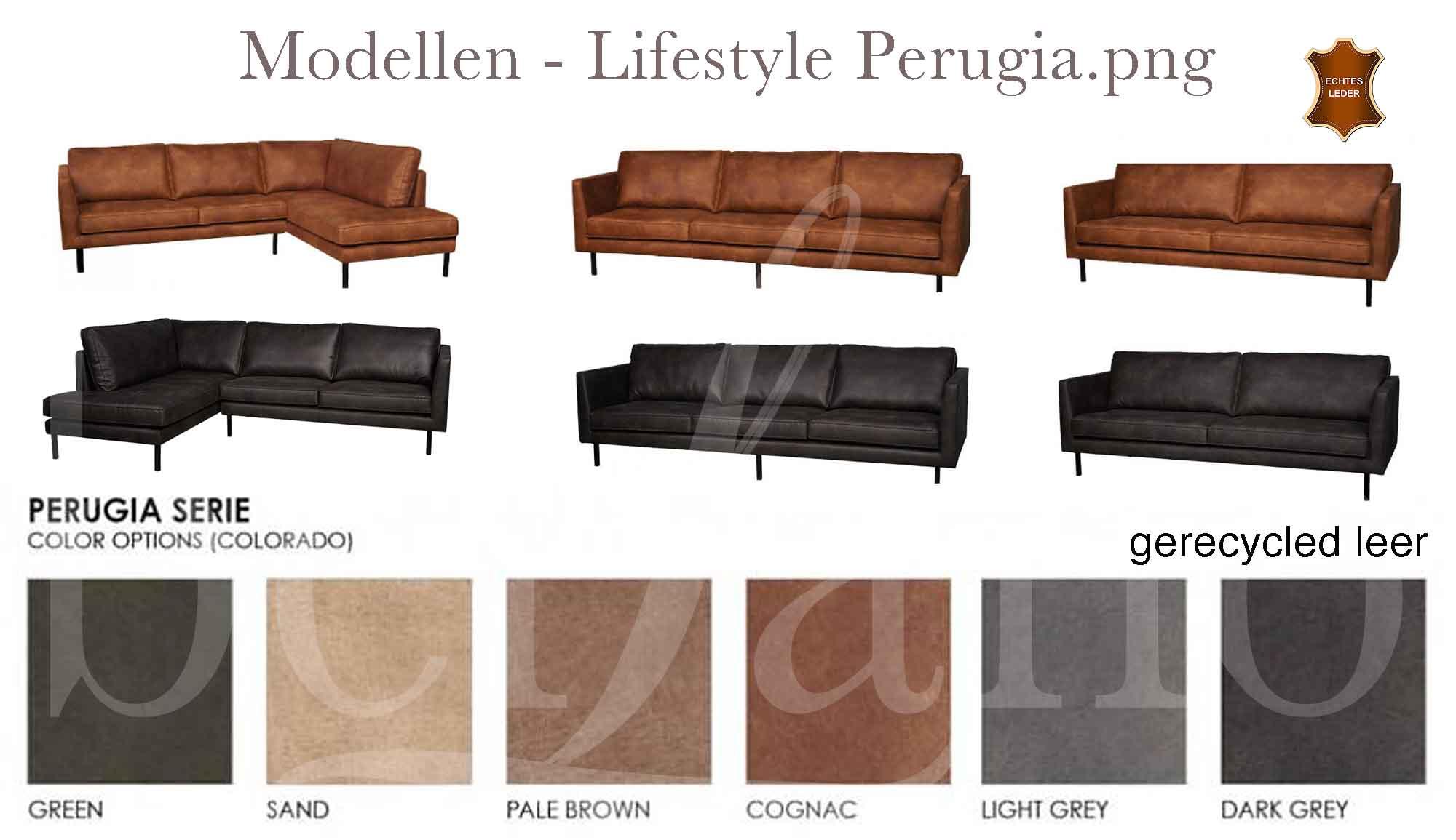 Hoekbank Leer Lounge.Lifestyle Perugia Lounge Sofa Leren Bank Grijs Cognac Groen Leer