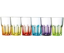 Luminarc Set of 6 colored glass tumbler 40 cl