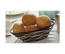 M&T Bread basket oval black painted metal 23 cm