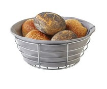 M&T Bread Basket 20 cm chrome with grey cotton inliner