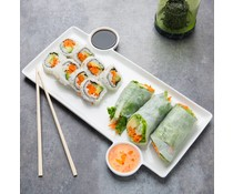 Sushi plate 33x23x1,3 cm with 2 built-in sauce cups