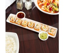 Sushi plate 33x15x1,3 cm with 2 built-in sauce cups