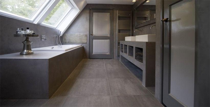 Waterdicht maken badkamer vloeren of wanden gummil premium vloeibaar rubber - Moderne badkamer betegelde vloer ...