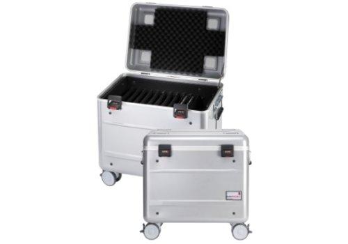 """Parat opladen i10 koffertrolley voor 10 tablets 9-11"""" met vakindeling zilvergrijs"""