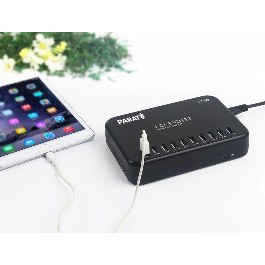 Multi-lader MC10 heeft 10 poorten voor het opladen van iPad, iPod en tablets op 1 stopcontact. Snel en veilig!