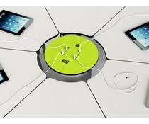Zioxi Bedraadde, oplaadbare BYOD powerHub met 6 stopcontacten, 6 Ethernet kabels