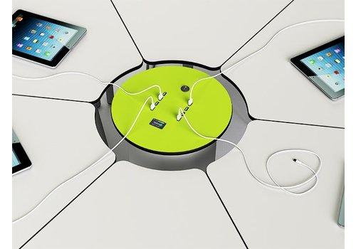 Zioxi Powerzuil met oplaadbare accu voor tablets met 6 stopcontacten, 6 Ethernet kabels