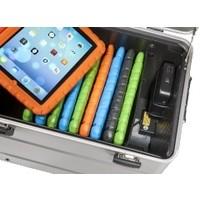 Mobiel oplaadstation voor maximaal 10 iPads met kidscover of tablets, i10 trolley koffer zilvergrijs, zonder compartimenten