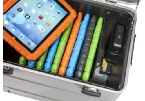 """Parat opladen i10-KC koffertrolley voor 10 tablets 9-11"""" met kidscover zonder vakindeling zilvergrijs"""