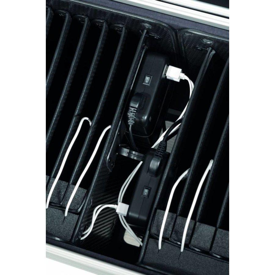 i20, mobiel oplaadstation voor 20 iPad, met compartiment indeling, zwart