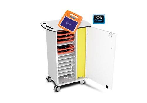 Zioxi Kast op wielen voor opladen 15 iPads,tablet in dikke hoezen