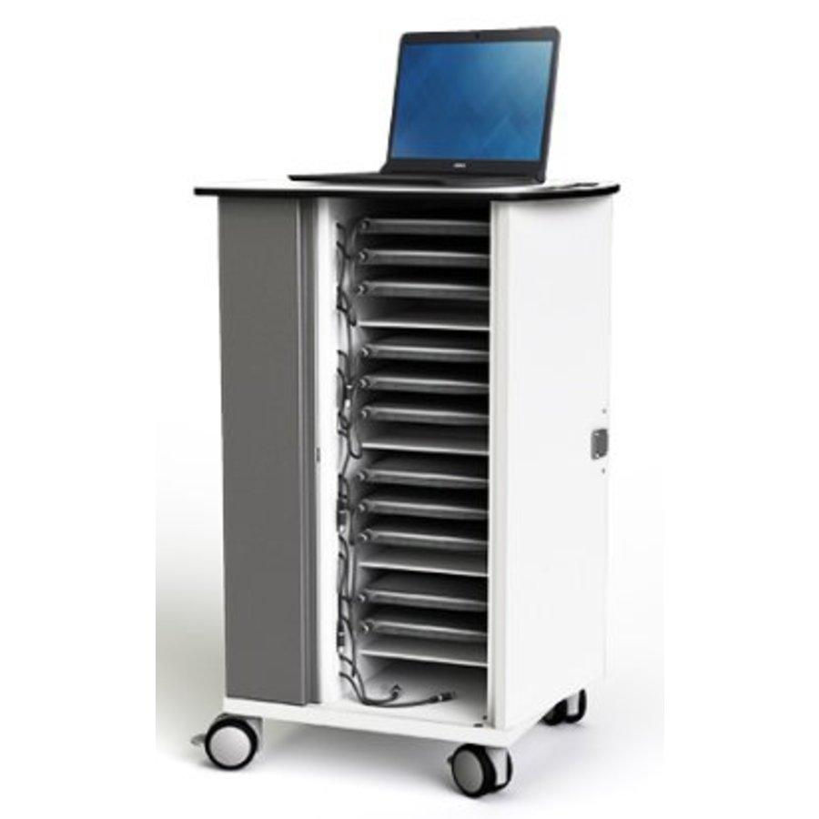 Macbook/Chromebook oplaadkar, 16 horizontale schappen, stekkerblok, kast is afsluitbaar met slot-1
