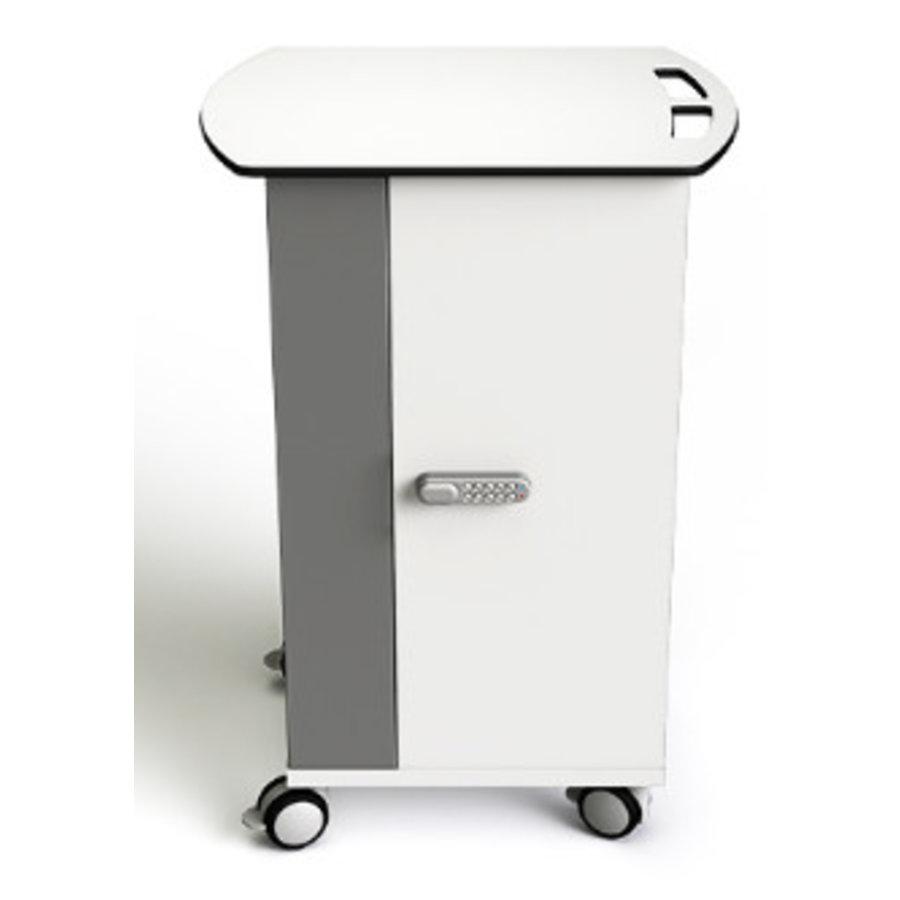 Macbook/Chromebook oplaadkar, 16 horizontale schappen, stekkerblok, kast is afsluitbaar met slot-2