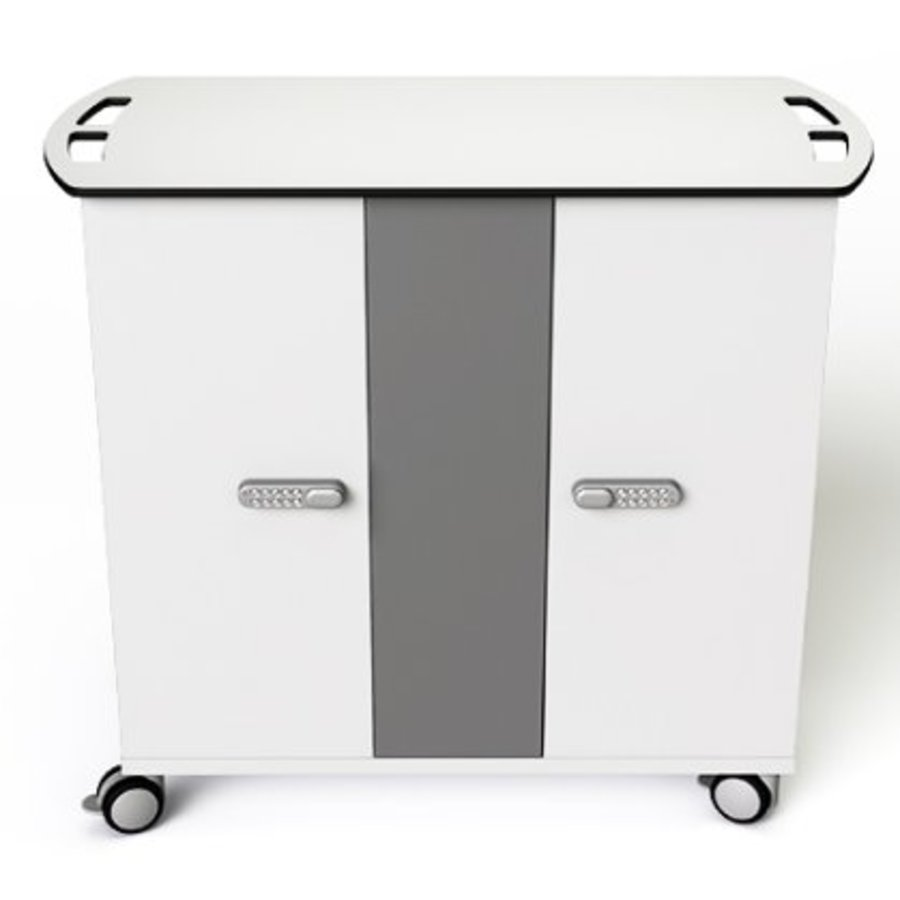 Macbook/Chromebook oplaadkar, 16 horizontale schappen, stekkerblok, kast is afsluitbaar met slot-4