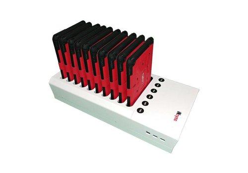 Parotec-IT opladen & syncen DL10 desktop laadstation met autodocking voor 10 iPads in meegeleverde hoezen