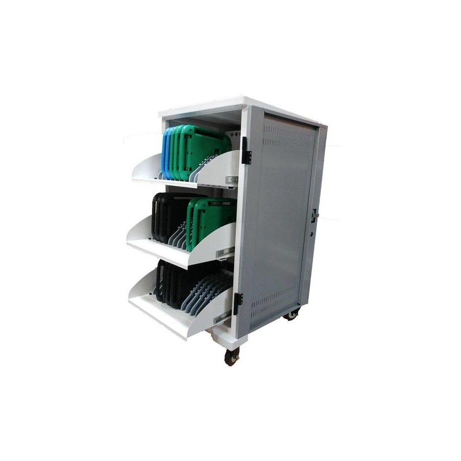 iPad mobiel laadstation; opladen van 36 ipads, Tablets, chromebooks. Afsluitbare stalen kast op wielen 36 apparaten via één stopcontact opladen
