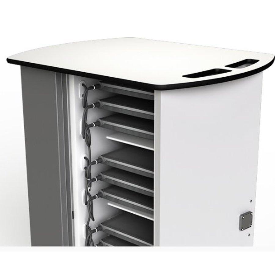Macbook/Chromebook oplaadkar, 20 horizontale schappen, stekkerblok, kast is afsluitbaar met slot