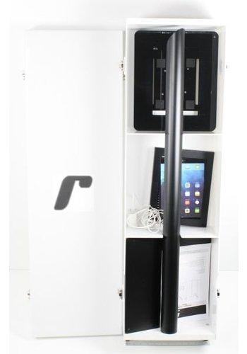 Flightcase gedemonteerde tablet vloerstandaarden