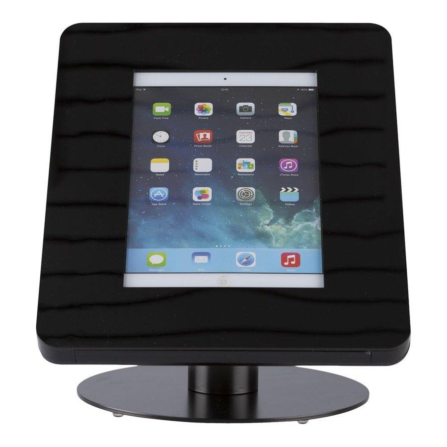 iPad tafelstandaard voor iPad/ iPad Air Meglio 9-11 inch; diefstalbestendige behuizing van zwart acrylaat en voet van zwart gecoat staal