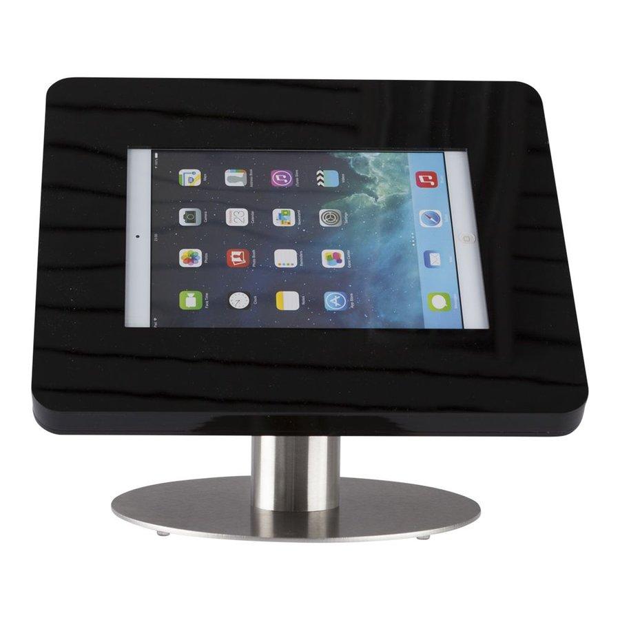 iPad tafelstandaard voor iPad/ iPad Air Meglio 9-11 inch; sjieke behuizing van zwart acrylaat en voet van geborsteld staal