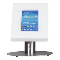iPad tafelstandaard voor iPad/ iPad Air Meglio 9-11 inch; diefstalbestendige behuizing van wit acrylaat en voet van geborsteld staal
