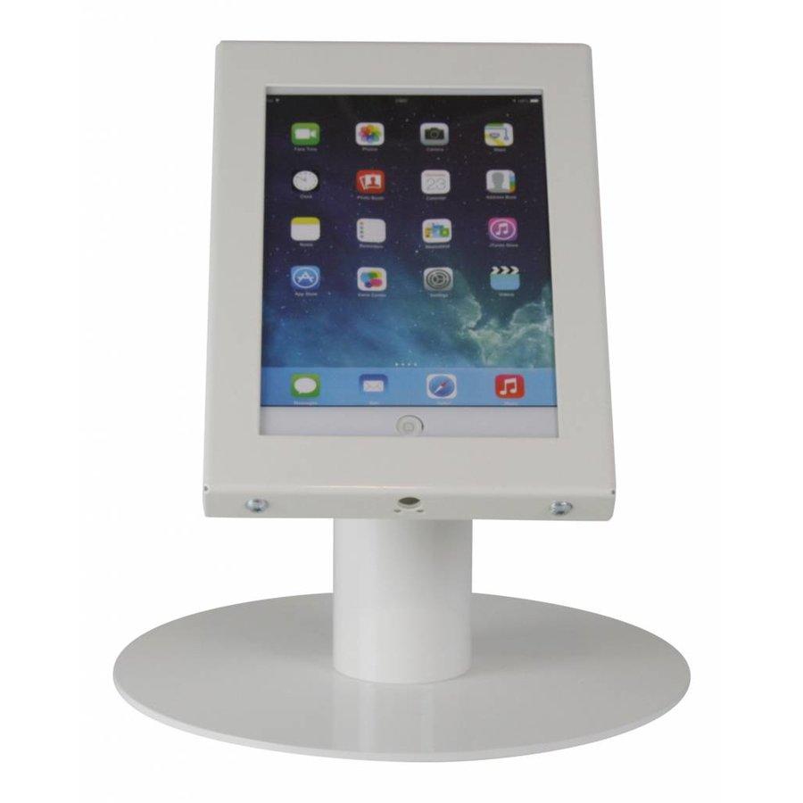 iPad mini tafelstandaard wit; Securo voor 7 tot 8 inch tablets diefstalbestendige behuizing en voet van wit gecoat staal