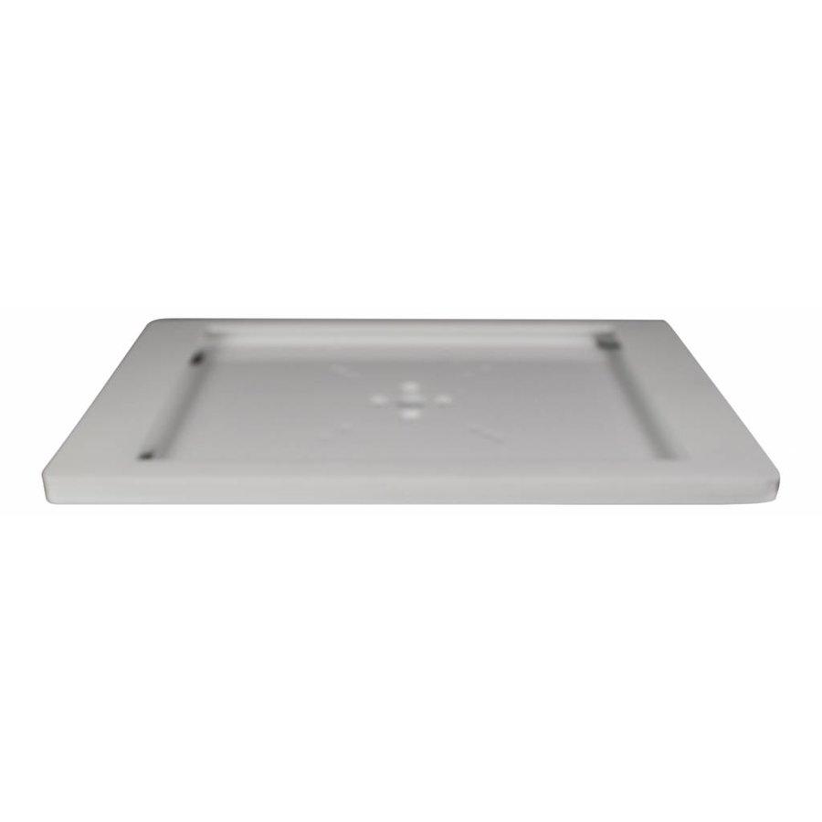 Tafelstandaard voor 9,7-inch iPads; Fino witte acrylaat behuizing met slot en voet van wit gecoat staal
