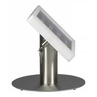 Tafelstandaard voor iPad Mini; Fino witte acrylaat behuizing met slot en voet van RVS/geborsteld staal